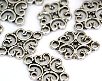 Lead free 24pcs Antique Silver Filigree Connectors S005-AS-FF