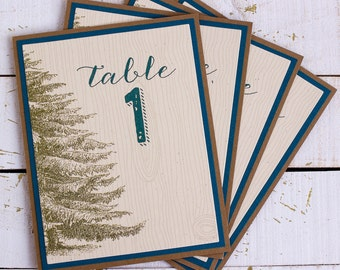 Rustic Woodland Wedding Reception Table Numbers - pine tree table numbers - mountain wedding - table markers - rustic party decor -