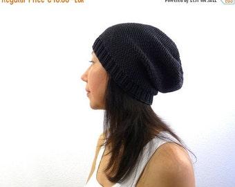 15% OFF SALE: Merino Phrygian Slouch Hat / Beanie. Dark Charcoal / Coal Black. Urban Knit. Men / Women. Fall / Winter / Ski.