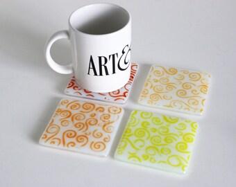 Warm Swirl Fused Glass Coasters , Home Decor Housewares Set of 4  Fused Glass Art  Hostess Gift  Home Decor, GetGlassy