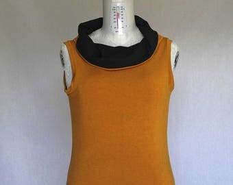 Sleeveless jersey top, high collar top, mustard jersey top, minimal mustard top, black and mustard