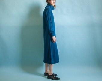 blue wool blend turtleneck dress / long sweater dress / midi knit minimalist dress / s / 2065d / B3