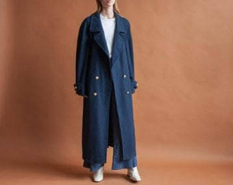 navy blue wool double breasted overcoat / oversized winter coat / minimalist winter coat / m / l / 2127o / R3