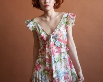 1970s cotton floral maxi dress / ruffle flutter sleeve dress / empire waist dress / s / 2167d / R2