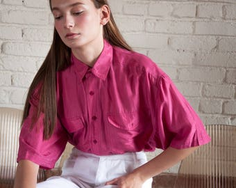 pink silk oversized blouse / button down shirt / silk minimalist top / s / m / 2480t / B18
