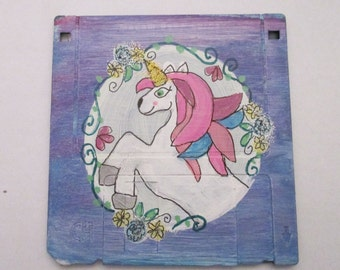 pretty unicorn painting - art on recycled floppy disk, children room decor, kids wall art, gift glitter