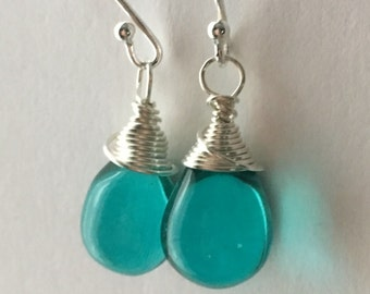 Teal Drop Earrings. Free UK Delivery. Light Teal Teardrop Earrings. Sterling Silver Earrings. Wire Wrapped Earrings. UK Seller