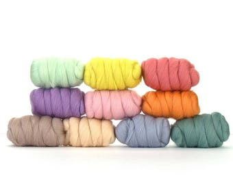 ON SALE Pretty Pastels Merino Variety Pack - 10 colors - 25 grams each color = 250 grams or 8.8 oz total to Spin, Felt, Fiber Art, Create