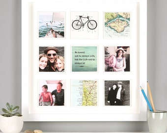 Personalised Map Photo collage Frame Print  - For Him - map gift - photo frame - Dad gift - fathers day - personalised Birthday gift for Dad