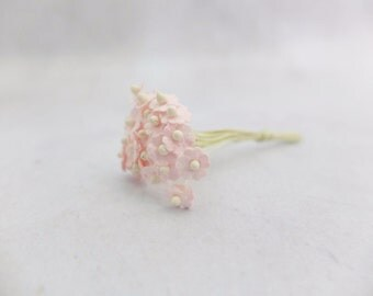 25 8mm pale pink mulberry paper flowers