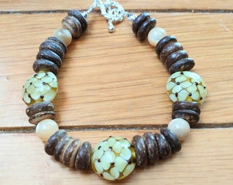 Coconut Wood and Glass Beaded Bracelet