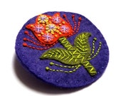 STOCKING FILLER SALE Tulip felt brooch pin with freeform embroidery - scandinavian style