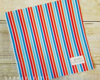 SALE! Ready to Ship - Summer Stripe - Reusable Sandwich Bag | Snack Bag | Waterproof | Travel Bag from green by mamamade
