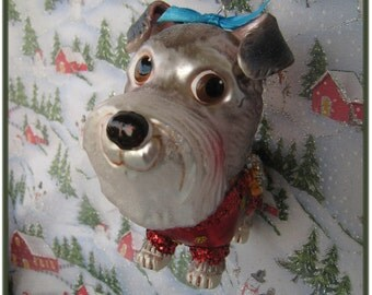 Sweet Girl Schnauzer Dog Blown Vintage Glass Christmas Ornament with Handmade Hanger/Swarovski Crystal Beads, Dog Lover Gifts, Animal Lover