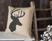 Whitetail Buck burlap throw pillow - Deer hunter gift for the cabin or lodge entryway or den decor