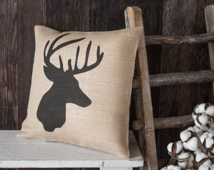 Featured listing image: Whitetail Buck burlap throw pillow - Deer hunter gift for the cabin or lodge entryway or den decor