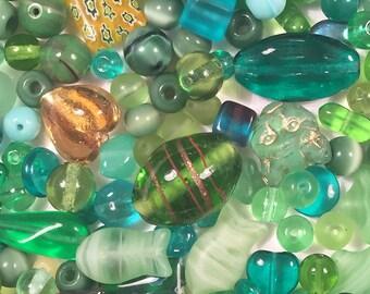 Destash Czech glass bead lot - green, lime, teal, forest, and amber Czech glass beads