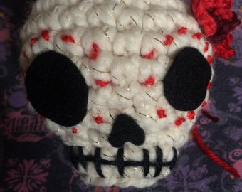 Crochet Day of the Dead/Halloween Skull hanging ornament