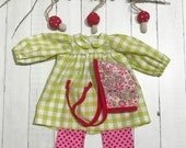 """Spring Green Check Dress with Leggings and Bonnet - For 18"""" - 20"""" dolls"""