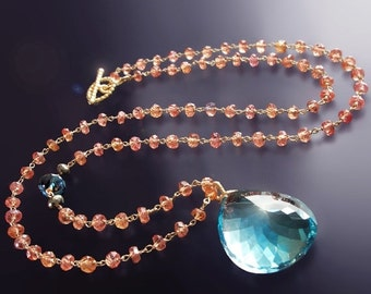 Valentines Day Sale - CUSTOM Made to Order - 14k Blue Topaz Necklace with Orange Padparadscha Sapphires
