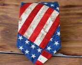 ON SALE 20% off Mens American pride necktie - cotton neckties for men - American flag tie - Independence Day necktie - stars and stripes tie