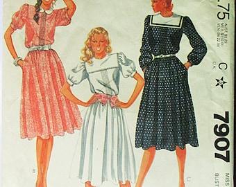 1980s Vintage Sewing Pattern McCalls 7907 Misses Dress Pattern Size 10 Bust 32 1/2