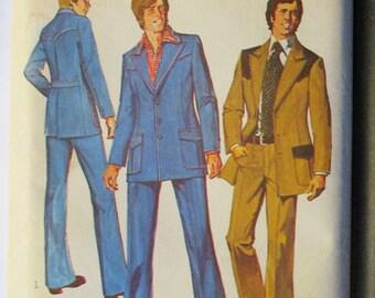 1970s Vintage Sewing Pattern Simplicity 6310 Mens Suit Pattern Size 36 Chest 36 Uncut