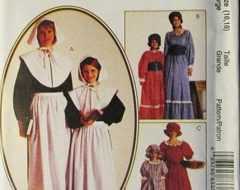 Craft Sewing Pattern McCalls 8335 Misses Costumes Pattern Prairie Dress Pilgrim Costumes Size Large 16, 18 Uncut
