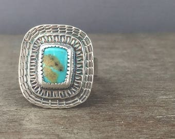 Turquoise ring - size 10 ring - campitos turquoise ring - turquoise jewelry - large stone ring - sterling silver ring - unique ring