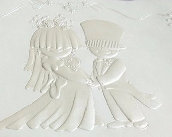 Fifty Pearl Embossed Tri-Fold Wedding Invitations Childish Bride And Groom