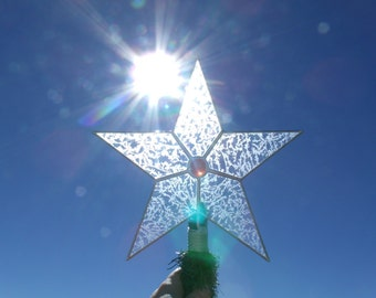 Large Simple Stained Glass Star Christmas Tree Topper, Classic 5 Point Star, Custom Tree Toppers