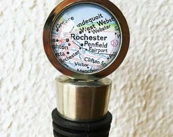 Rochester Map Wine Stopper Stainless Steel - Also featuring Irondequoit, Greece, Oswego, New York - Choose your map