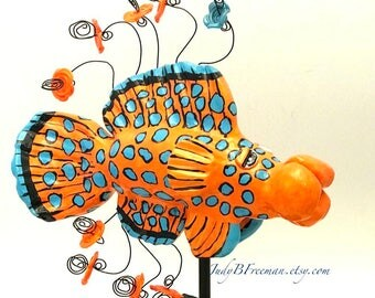 Fish Tabletop Sculpture with Stand Polymer Clay Coral Hind Grouper Fish Made to Order FS00027