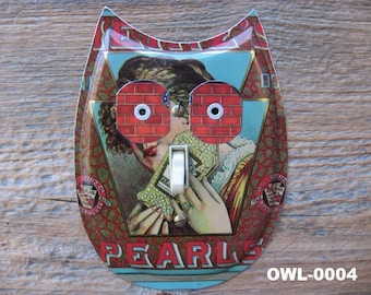 Owl Switch Plate Cover Plates Made From Recycled Tins Tin Art Owls Decor Unique Lighting OWL-000X