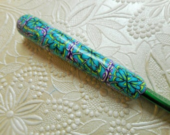 Polymer Clay Covered Crochet Hook, Bates K