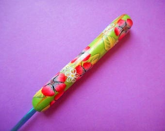 Polymer Clay Floral Covered Crochet Hook, Boye E
