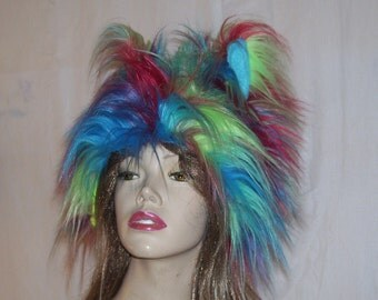 Mardi Gras Troll Hat Rainbow Troll Hat Furry Pride Adult Unisex Rainbow Mouse Animal Furries Costume Hat Gay Pride Parade Furry Troll Wig