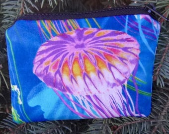 Jellyfish coin purse, tee and ball marker pouch, gift card pouch, The Raven