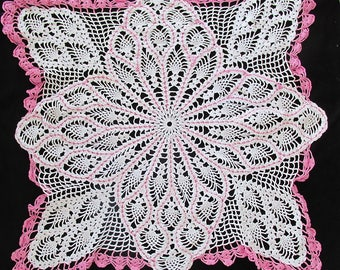 Vintage Crochet Doily Table Cloth White w/ Pink Accents  27 x 27""