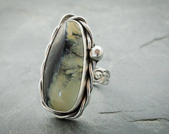 Variscite Ring. Gemstone Ring. Statement Ring. Size 8 Ring. Boho Jewelry. Turquoise Color Gemstone. Boho Ring. Gypsy Ring. Unisex Ring