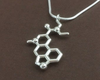 LSD molecule necklace in solid sterling silver