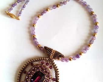 OOAK Beadwoven Necklace, Unique Pendant, Amethyst Gemstones, Statement Necklace . Purple Valentine's Day . Purple Stone  by enchantedbeads
