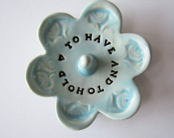 Keepsake Ring Dish, To Have and To Hold,  Clay Pottery, In Stock, Pale Blue