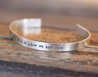 sterling silver stamped cuff bracelet - personalized with your quote