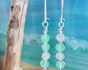 Seafoam green sea glass earrings ~ Sea Glass Jewelry ~ Beach glass wire wrapped earrings ~ Hawaiian beach jewelry ~ Wedding earrings ~ boho