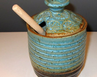 Honey Pot/Sugar Jar in Turquoise Blue and Amber