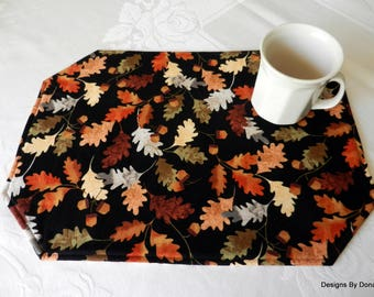One or More Quilted Reversible Placemats, Fall Oak Leaves & Acorns On One Side, The Reverse Side Plaid in Fall Colors, Handmade Table Linens