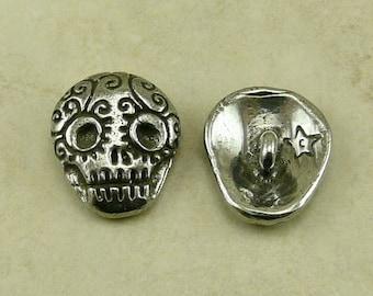 Sugar Skull Green Girl Button - Skully Day of the Dead Dia de los Muertos Skeleton Goth - American Artist Made Lead Free Pewter Silver 328