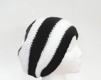 Black white stripes beanie hat handmade for men or women     5221