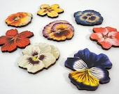 Wood Pansies - Collection of 8 Different Laser Cut Craft Parts - Spring Flowers